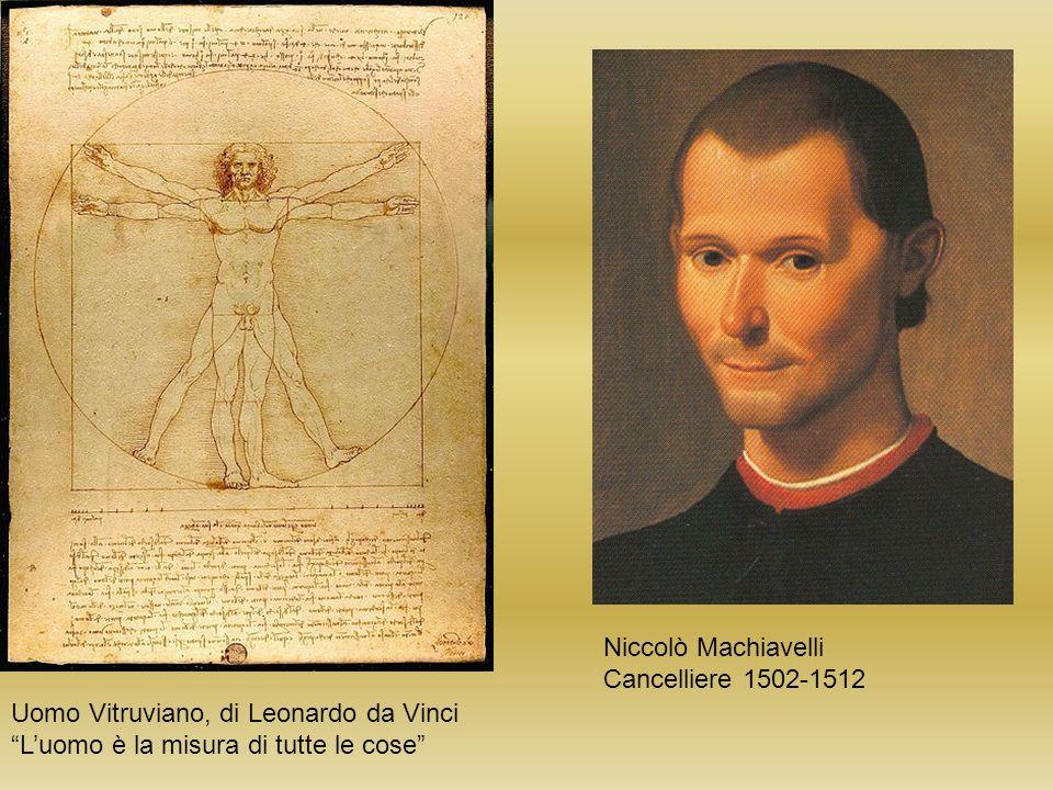 Niccolò Machiavelli Cancelliere 1502-1512. Uomo Vitruviano, di Leonardo da Vinci.