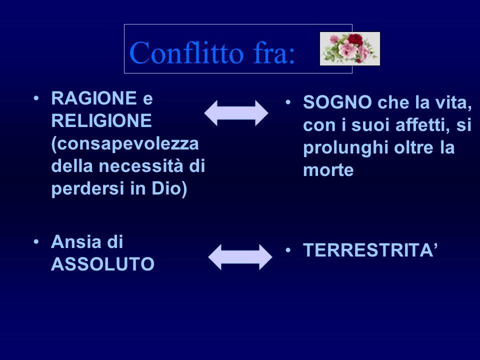 Conflitto fra:RAGIONE e RELIGIONE (consapevolezza della necessità di perdersi in Dio) Ansia di ASSOLUTO.