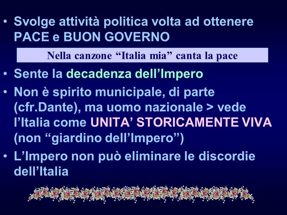 Nella canzone Italia mia canta la pace