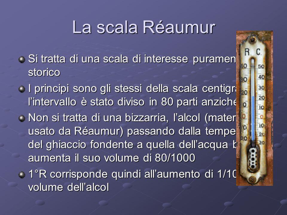 La scala Réaumur Si tratta di una scala di interesse puramente storico