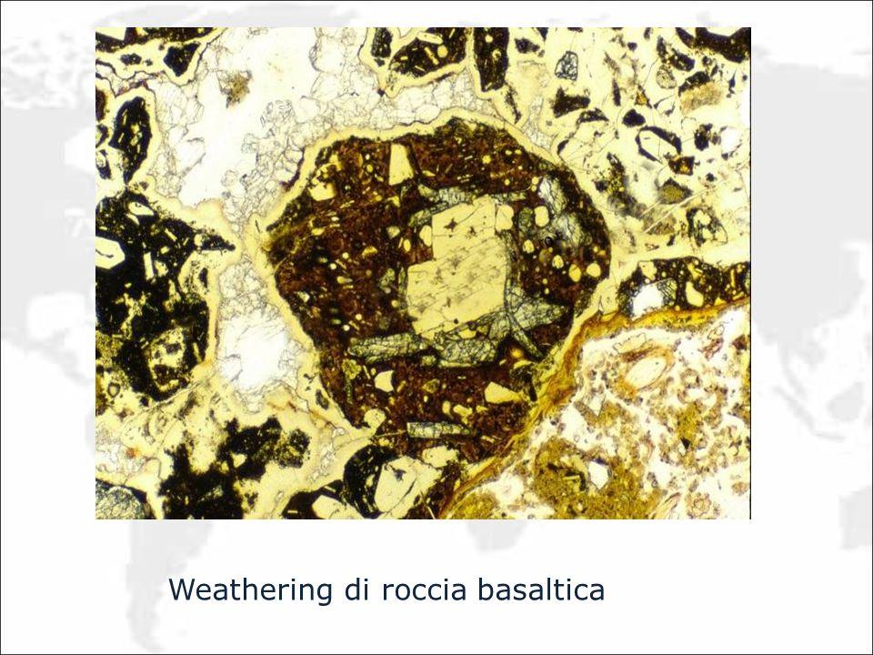 Weathering di roccia basaltica