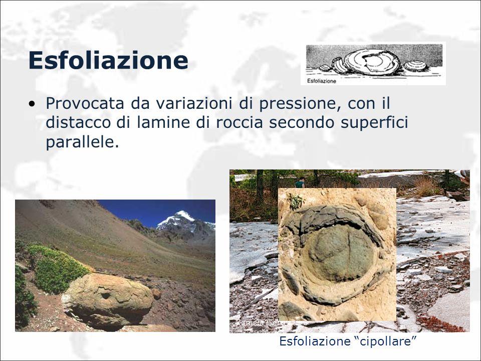 Esfoliazione Provocata da variazioni di pressione, con il distacco di lamine di roccia secondo superfici parallele.