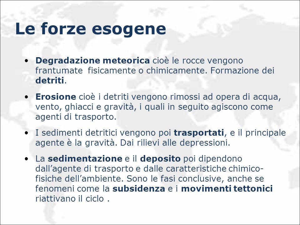 Le forze esogene Degradazione meteorica cioè le rocce vengono frantumate fisicamente o chimicamente. Formazione dei detriti.