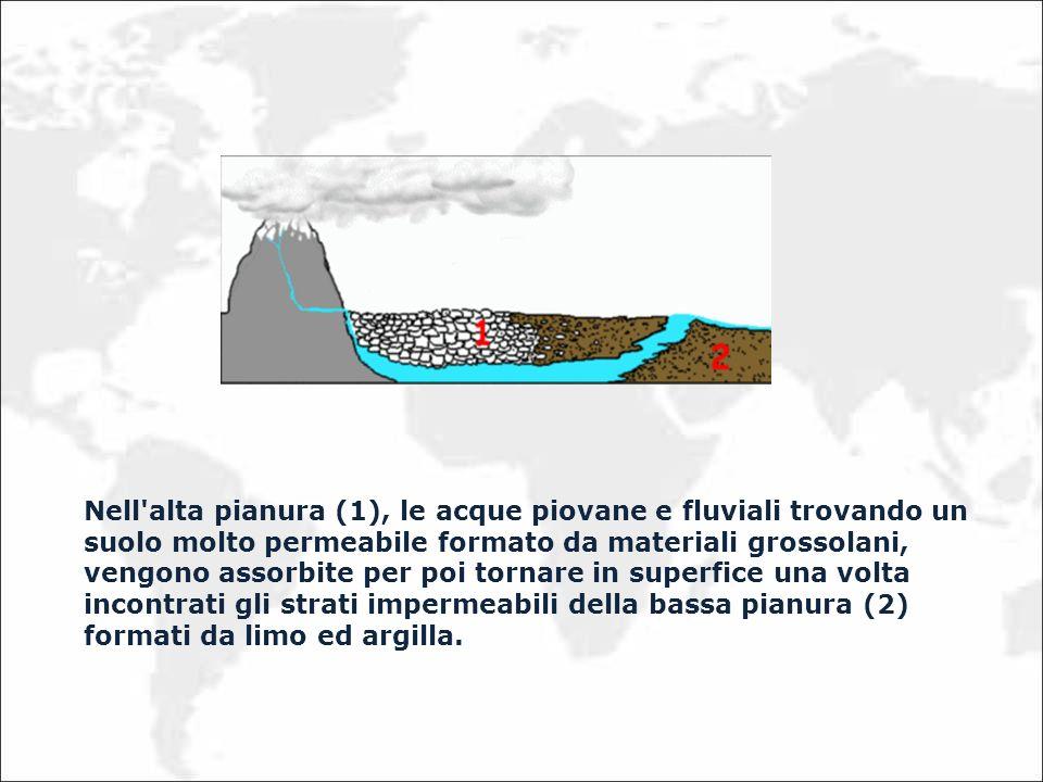 Nell alta pianura (1), le acque piovane e fluviali trovando un suolo molto permeabile formato da materiali grossolani, vengono assorbite per poi tornare in superfice una volta incontrati gli strati impermeabili della bassa pianura (2) formati da limo ed argilla.