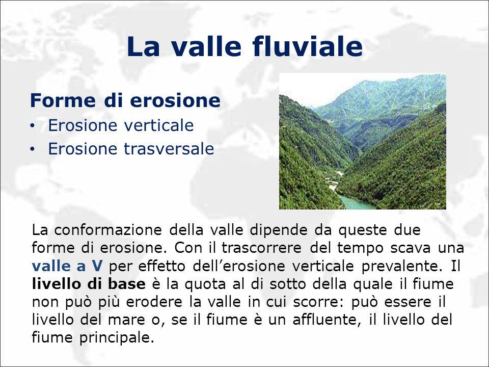 La valle fluviale Forme di erosione Erosione verticale