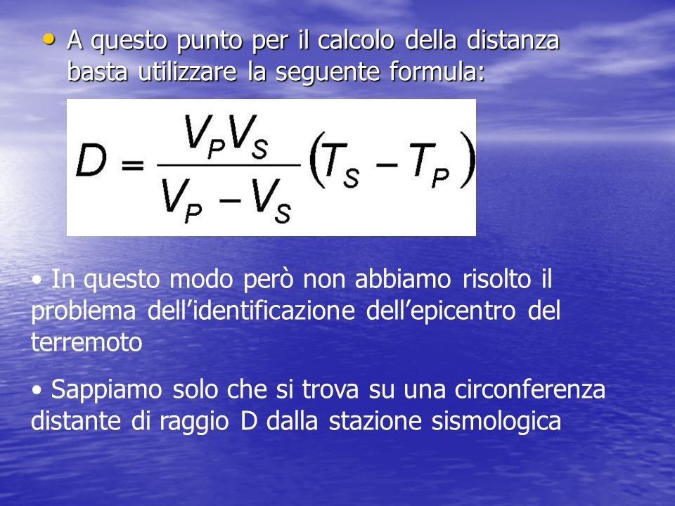 A questo punto per il calcolo della distanza basta utilizzare la seguente formula: