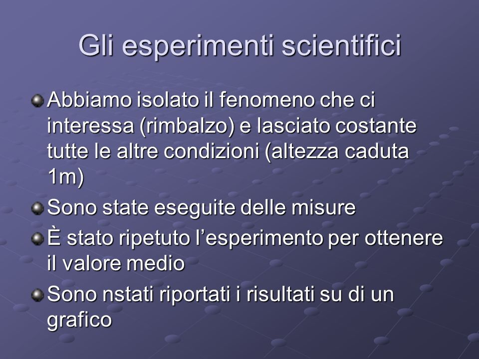 Gli esperimenti scientifici