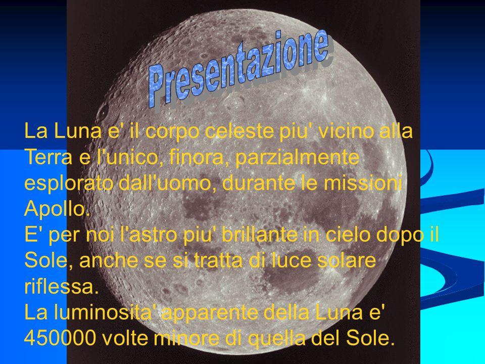 Presentazione La Luna e il corpo celeste piu vicino alla Terra e l unico, finora, parzialmente esplorato dall uomo, durante le missioni Apollo.