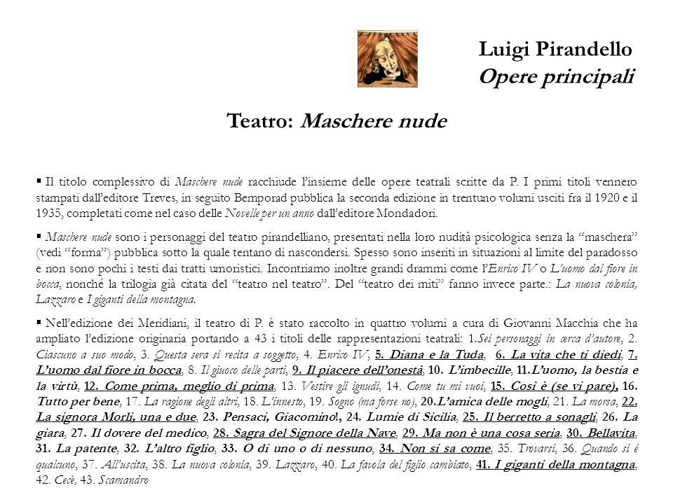 Luigi Pirandello Opere principali