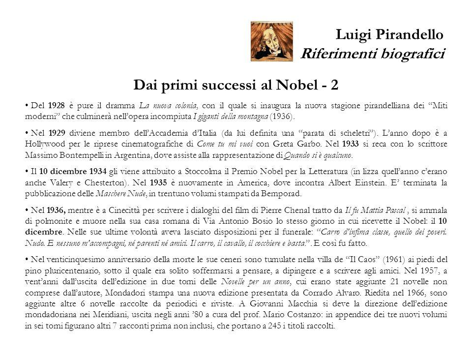 Luigi Pirandello Riferimenti biografici