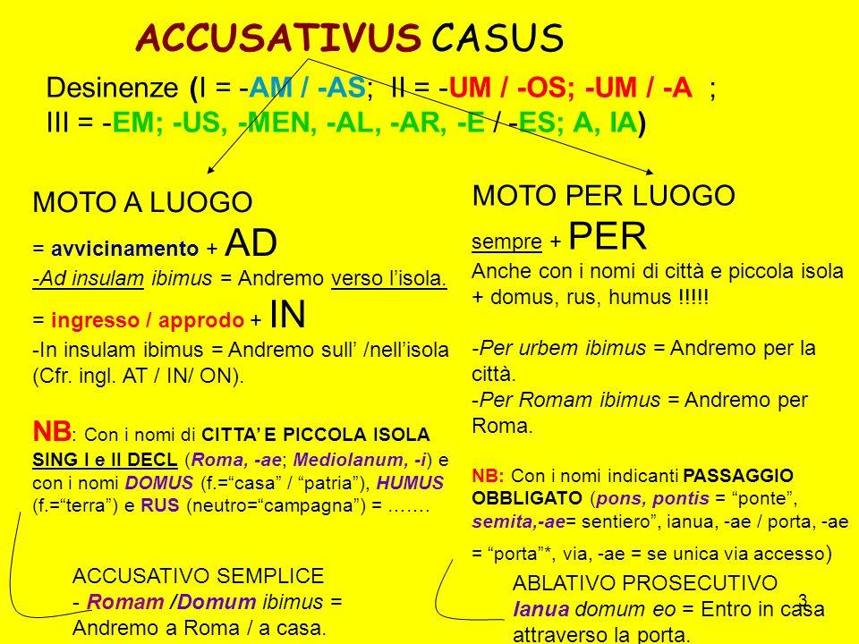 ACCUSATIVUS CASUS Desinenze (I = -AM / -AS; II = -UM / -OS; -UM / -A ;