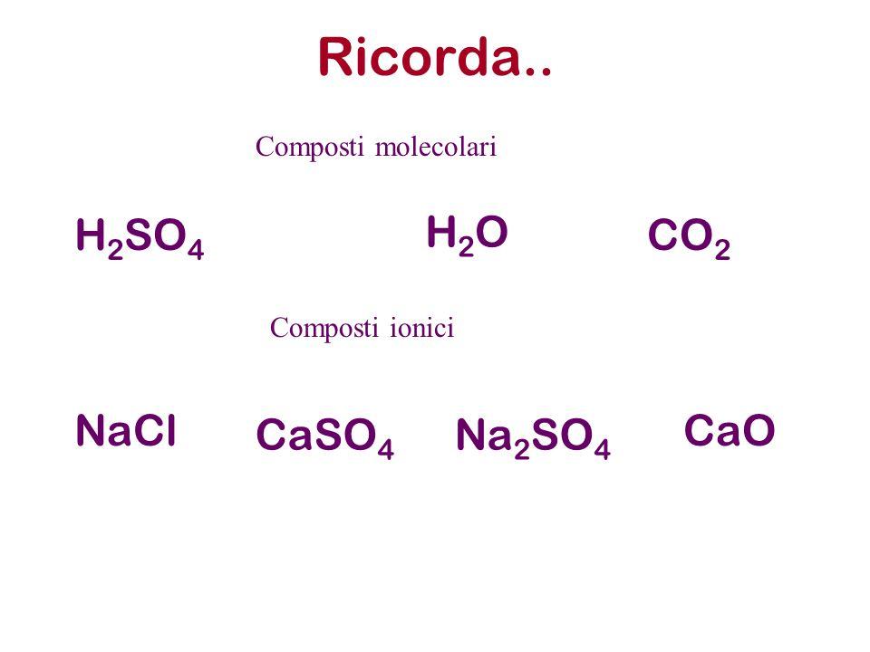 Ricorda.. H2SO4 H2O CO2 NaCl CaSO4 Na2SO4 CaO Composti molecolari