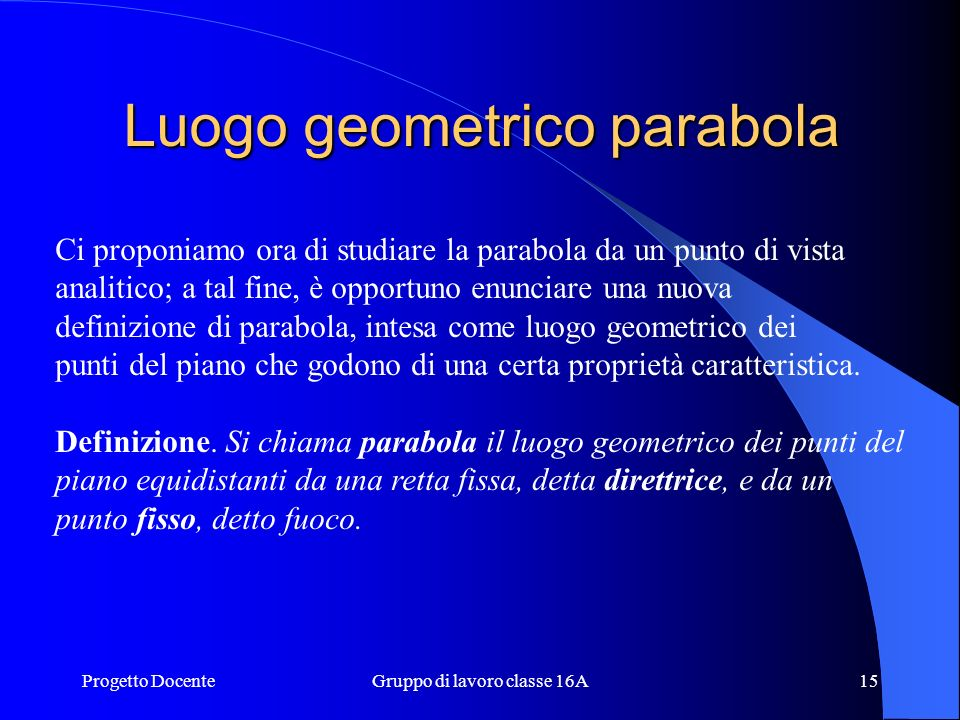 Luogo geometrico parabola