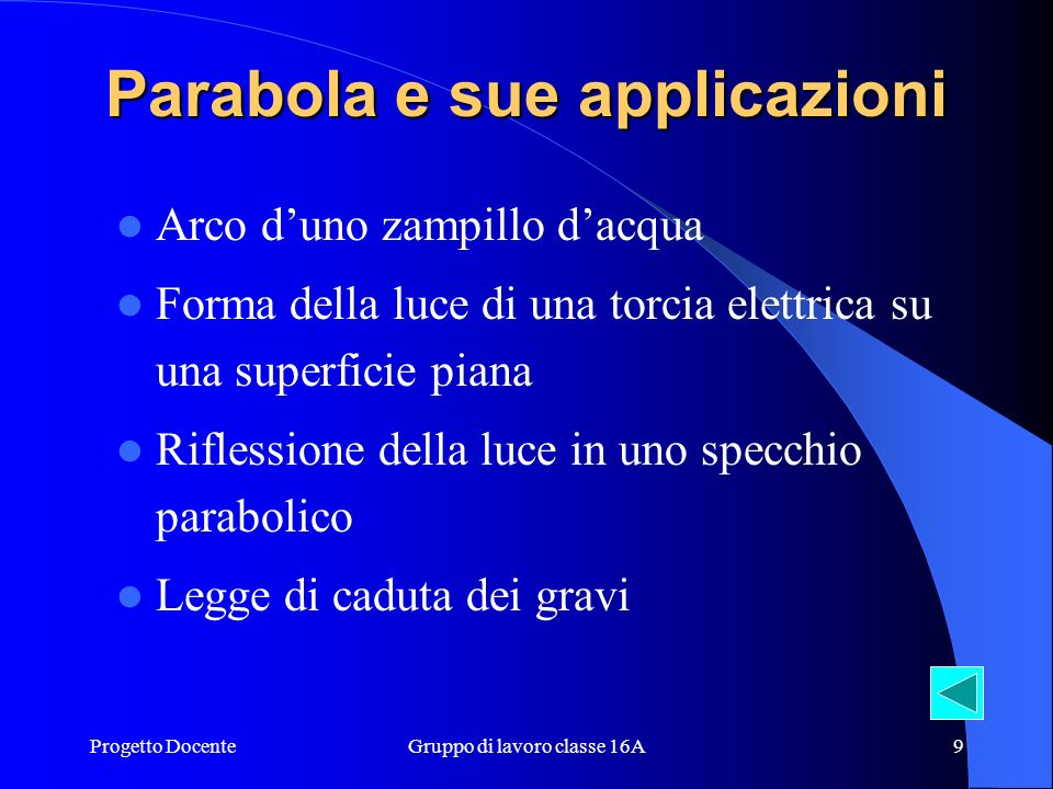 Parabola e sue applicazioni