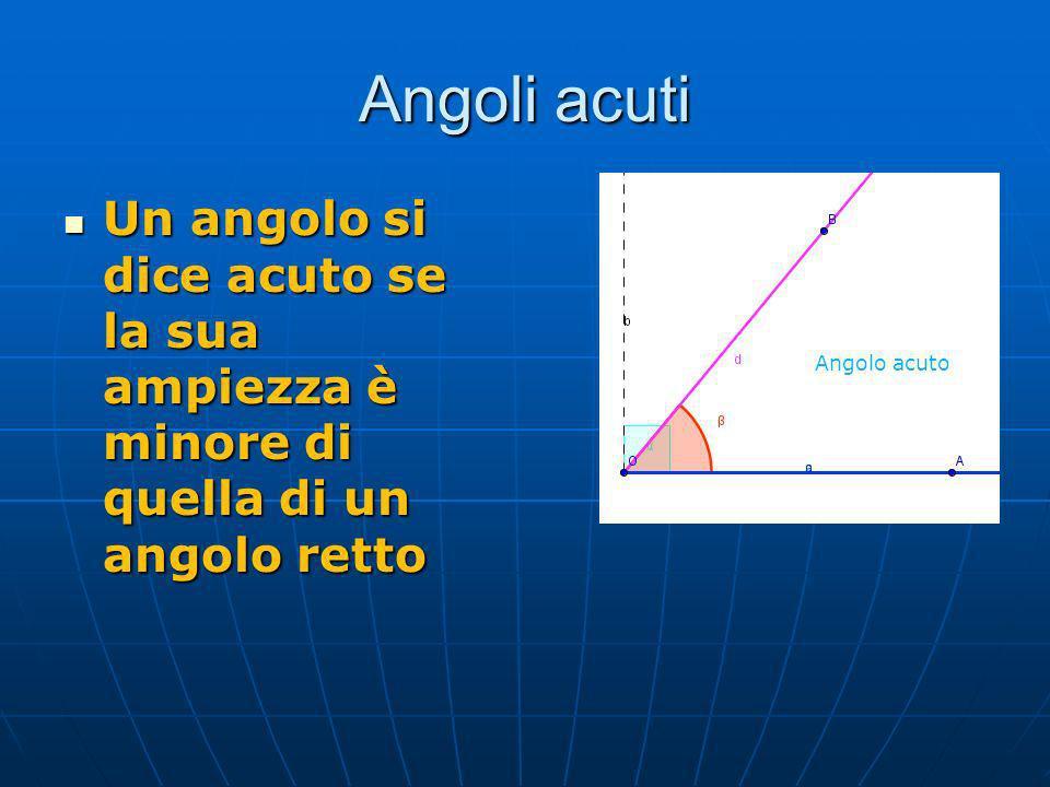 Angoli acuti Un angolo si dice acuto se la sua ampiezza è minore di quella di un angolo retto.