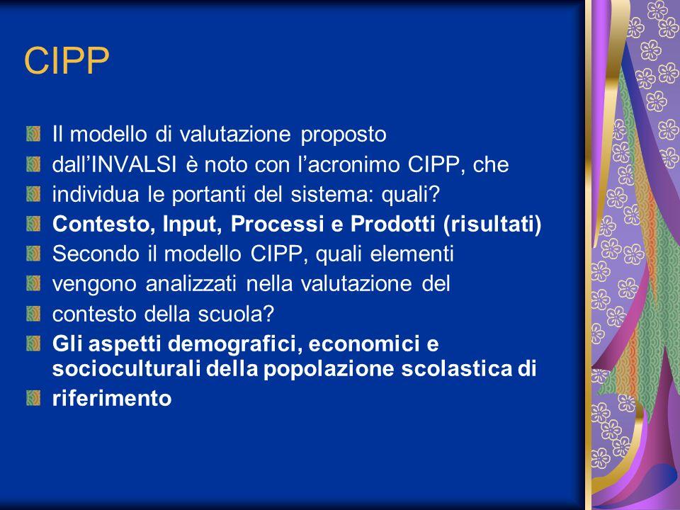 CIPP Il modello di valutazione proposto