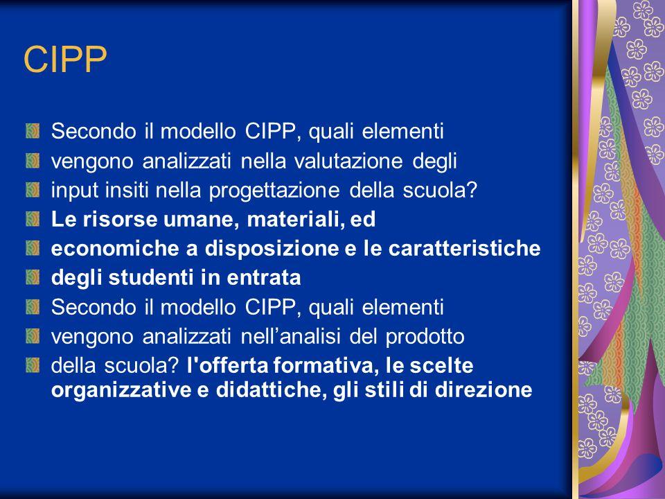 CIPP Secondo il modello CIPP, quali elementi