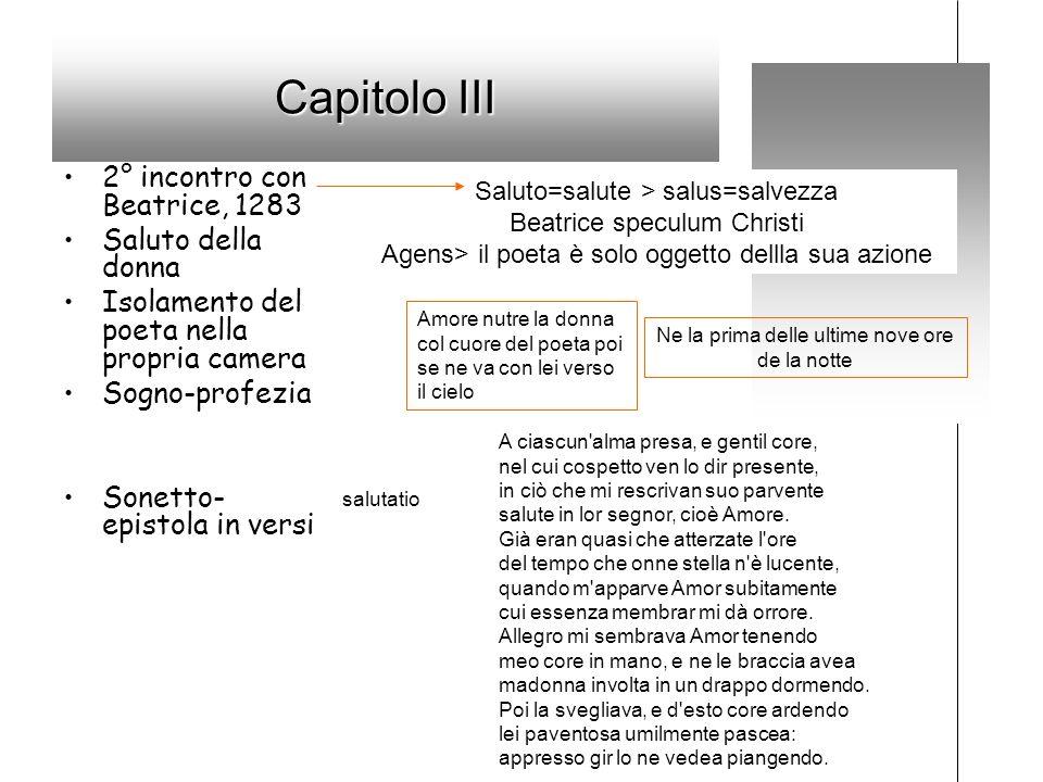 Capitolo III 2° incontro con Beatrice, 1283 Saluto della donna