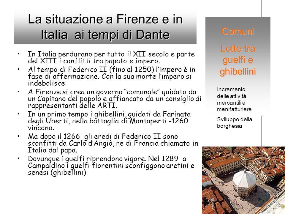 La situazione a Firenze e in Italia ai tempi di Dante