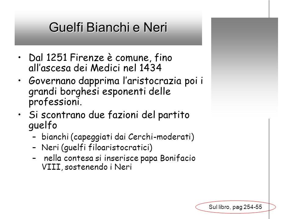 Guelfi Bianchi e Neri Dal 1251 Firenze è comune, fino all'ascesa dei Medici nel 1434.