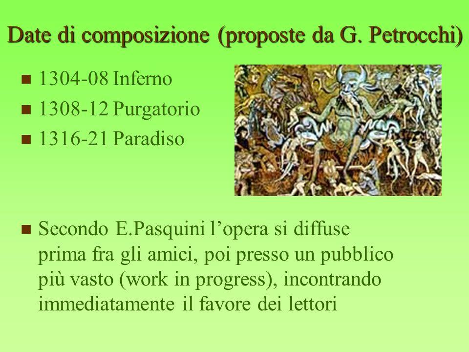 Date di composizione (proposte da G. Petrocchi)