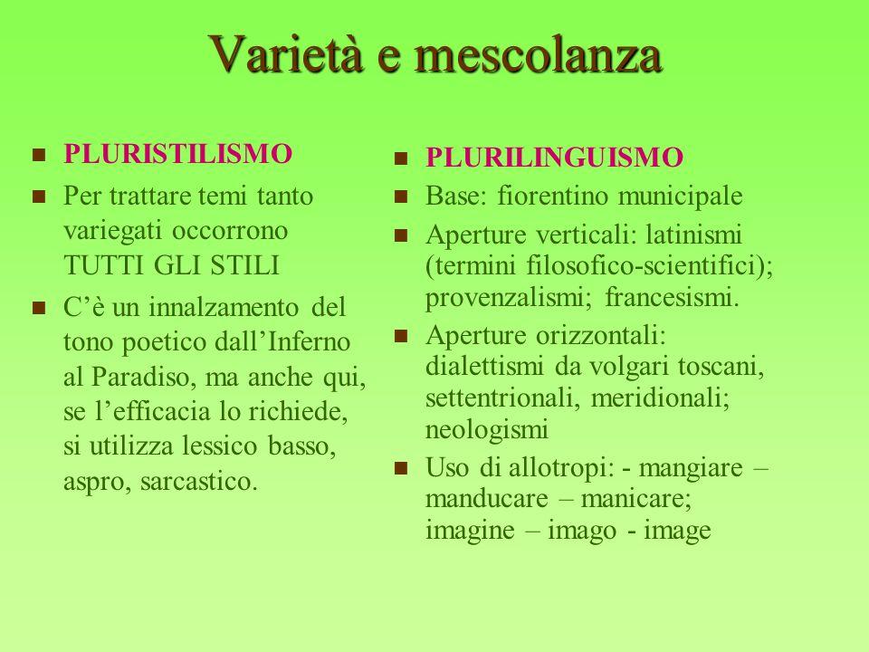 Varietà e mescolanza PLURISTILISMO PLURILINGUISMO