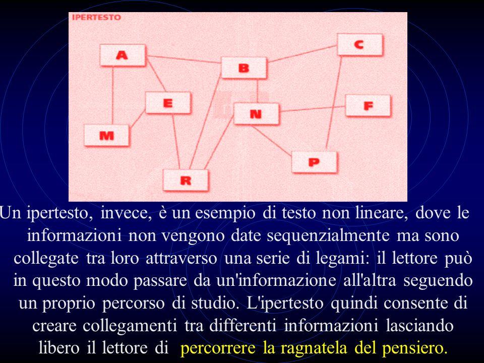 Un ipertesto, invece, è un esempio di testo non lineare, dove le informazioni non vengono date sequenzialmente ma sono collegate tra loro attraverso una serie di legami: il lettore può in questo modo passare da un informazione all altra seguendo un proprio percorso di studio.