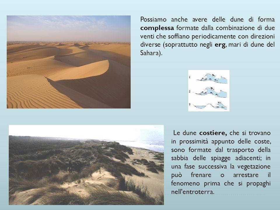 Possiamo anche avere delle dune di forma complessa formate dalla combinazione di due venti che soffiano periodicamente con direzioni diverse (soprattutto negli erg, mari di dune del Sahara).