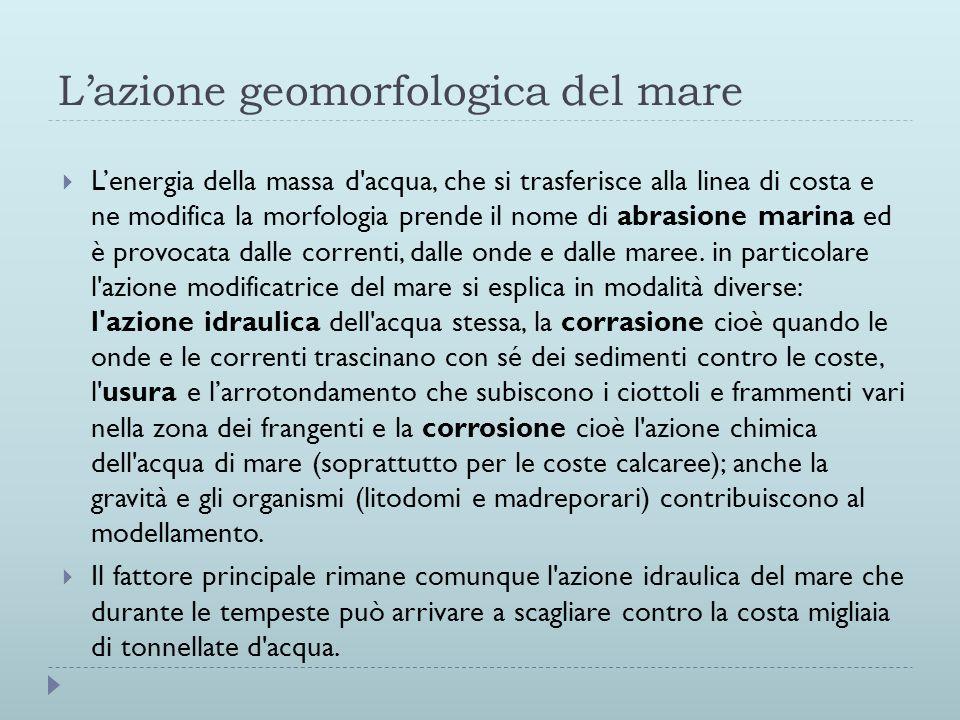 L'azione geomorfologica del mare