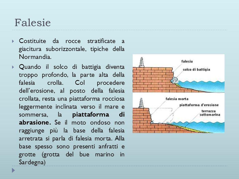 FalesieCostituite da rocce stratificate a giacitura suborizzontale, tipiche della Normandia.