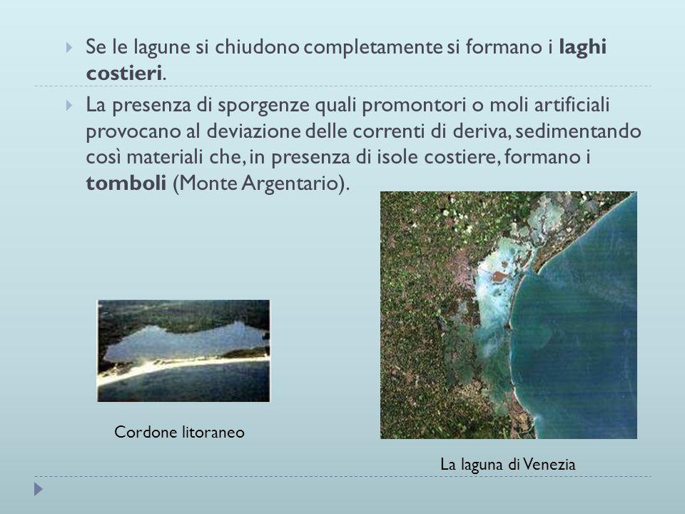 Se le lagune si chiudono completamente si formano i laghi costieri.