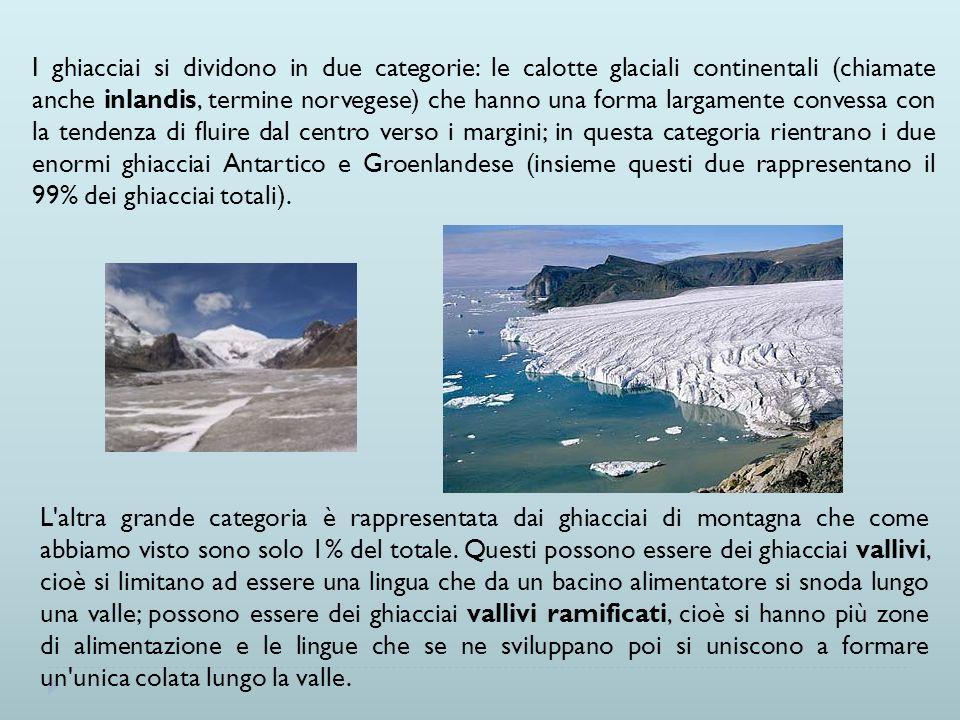 I ghiacciai si dividono in due categorie: le calotte glaciali continentali (chiamate anche inlandis, termine norvegese) che hanno una forma largamente convessa con la tendenza di fluire dal centro verso i margini; in questa categoria rientrano i due enormi ghiacciai Antartico e Groenlandese (insieme questi due rappresentano il 99% dei ghiacciai totali).