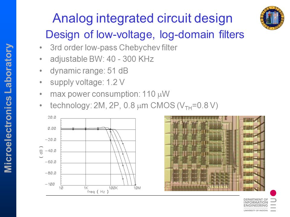Design of low-voltage, log-domain filters