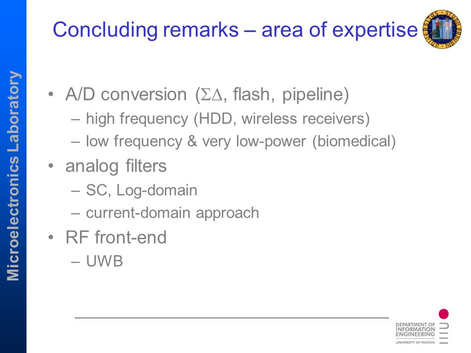 Concluding remarks – area of expertise