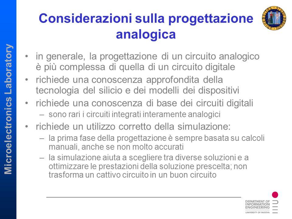 Considerazioni sulla progettazione analogica