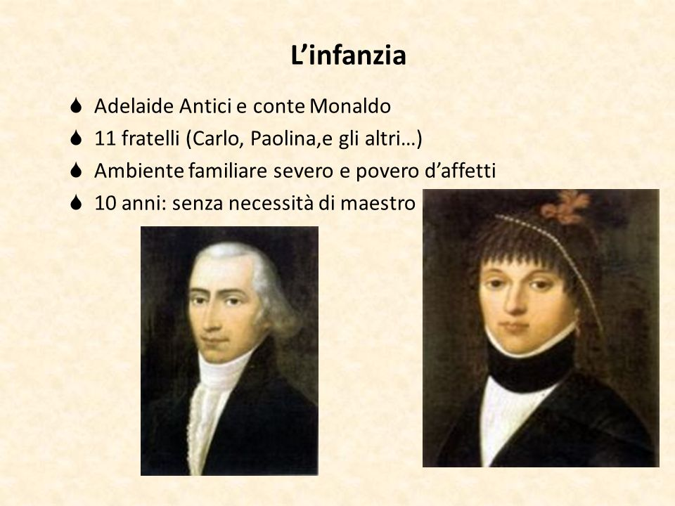 L'infanzia Adelaide Antici e conte Monaldo