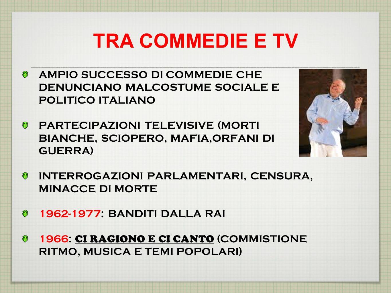 TRA COMMEDIE E TV AMPIO SUCCESSO DI COMMEDIE CHE DENUNCIANO MALCOSTUME SOCIALE E POLITICO ITALIANO.