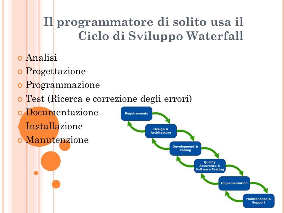 Il programmatore di solito usa il Ciclo di Sviluppo Waterfall