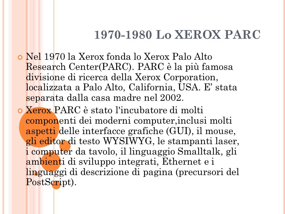 1970-1980 Lo XEROX PARC