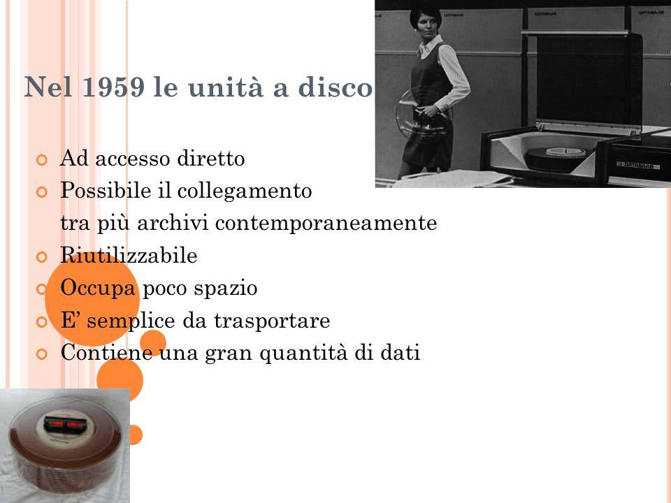 Nel 1959 le unità a disco Ad accesso diretto Possibile il collegamento