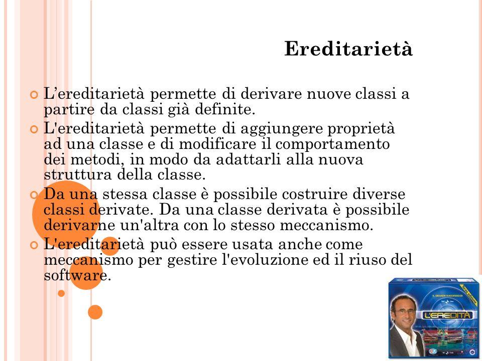 Ereditarietà L'ereditarietà permette di derivare nuove classi a partire da classi già definite.