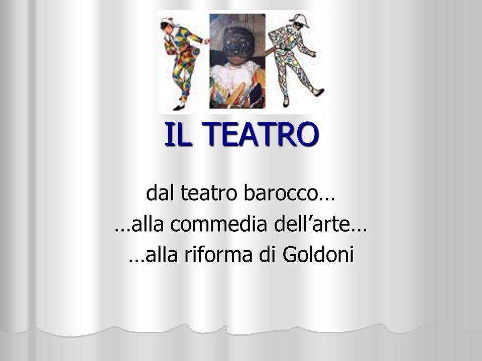 dal teatro barocco… …alla commedia dell'arte… …alla riforma di Goldoni