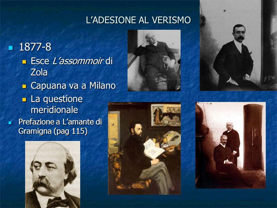 1877-8 L'ADESIONE AL VERISMO Esce L'assommoir di Zola