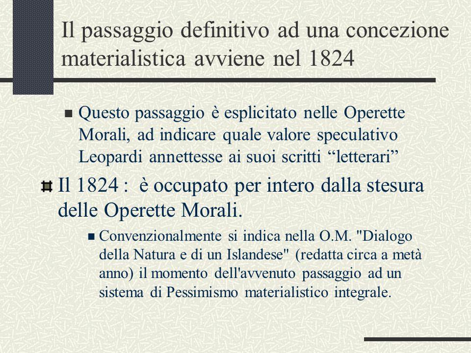 Il passaggio definitivo ad una concezione materialistica avviene nel 1824