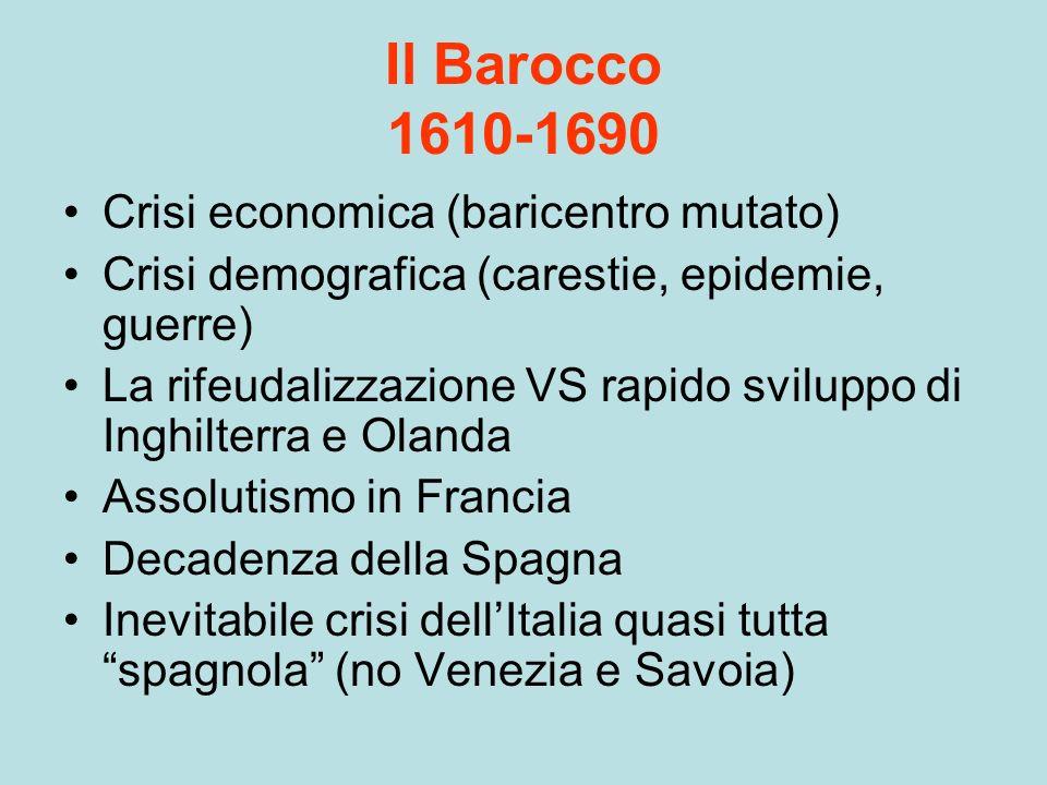 Il Barocco 1610-1690 Crisi economica (baricentro mutato)