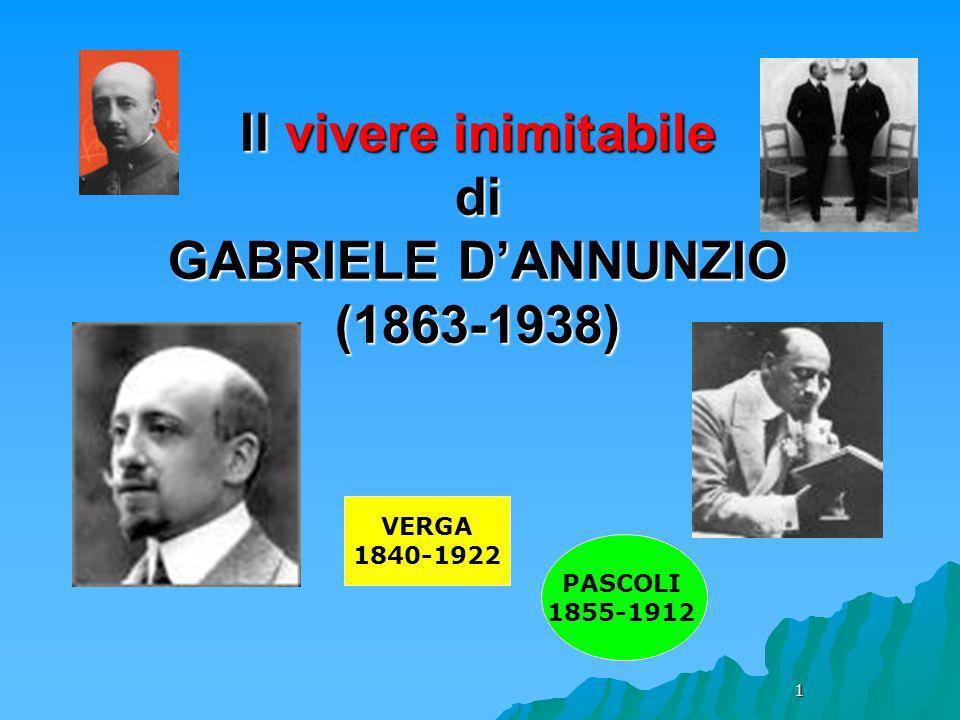 Il vivere inimitabile di GABRIELE D'ANNUNZIO (1863-1938)