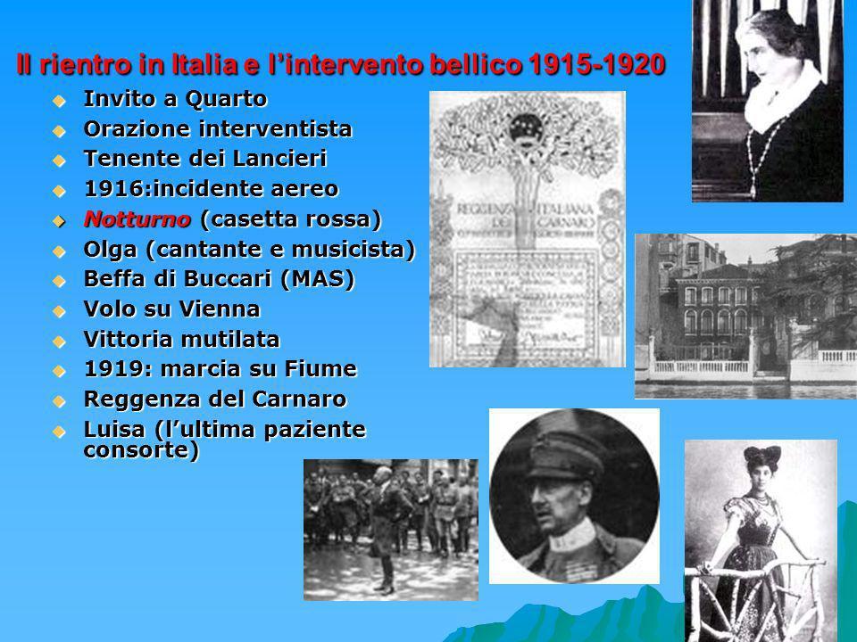 Il rientro in Italia e l'intervento bellico 1915-1920