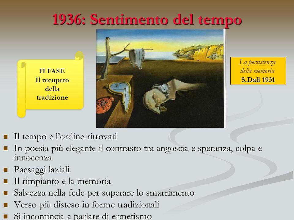 1936: Sentimento del tempo Il tempo e l'ordine ritrovati