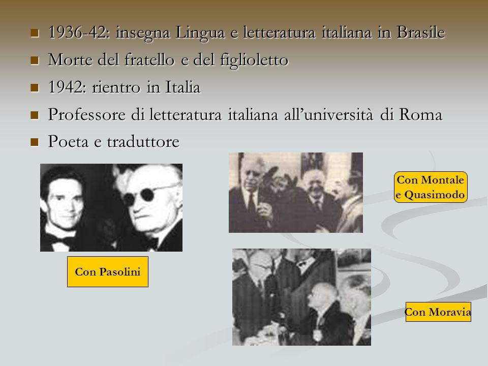 1936-42: insegna Lingua e letteratura italiana in Brasile
