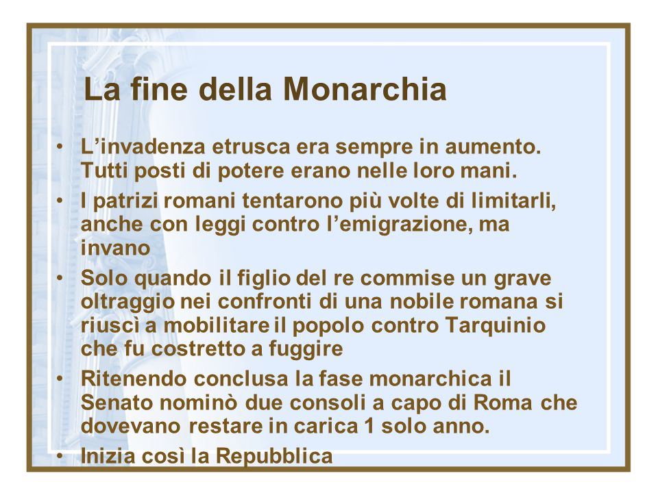 La fine della Monarchia